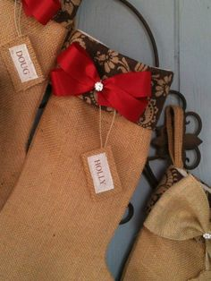 Burlap stocking with damask burlap cuff -personalized