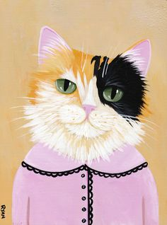Pretty Fiona Original Calico Cat Folk Art Painting by KilkennycatArt