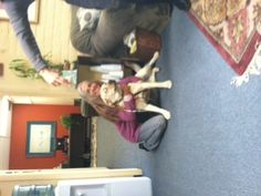 "Carol Parker in love with the counseling center's new Therapy Dog:  ""Penny Jane""."
