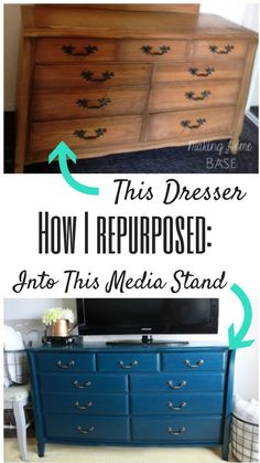 Dresser Repurposed into a Media Console then painted navy blue. Beautiful!