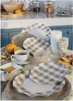 Gingham Dishes