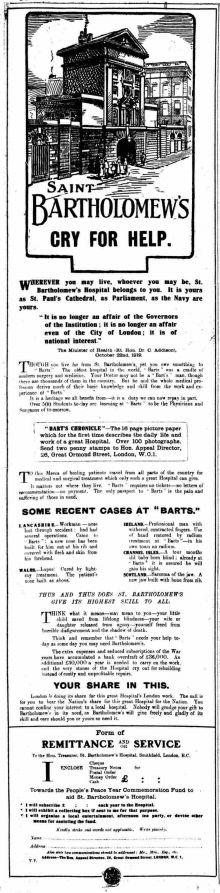 Bart's Hospital. 30 October, 1919
