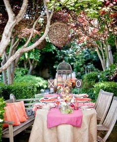 Lovely pink and coral set up for an outdoor get together.