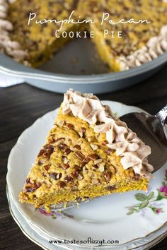 If you love pumpkin, you'll love this Pumpkin Pecan Cookie Pie with bursts of cinnamon inside. It's thick and soft with cinnamon buttercream frosting on top that will melt-in-your-mouth!