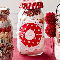 Need a last minute gift? Decorate an inexpensive Mason jar with leftover wrapping paper: http://www.bhg.com/christmas/gifts/simple-christmas-food-gifts/?socsrc=bhgpin122313christmascookiemixgift&page=2