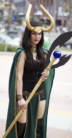 Lady Loki #TheAvengers I really like her weapon. It's simple, but you can tell it's Loki's. Since I just started prop making, it'd be awesome to make that.