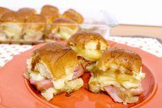 Tropical Funeral Sandwiches - King's Hawaiian rolls with ham, swiss cheese, pineapple, sauce and seasoning!