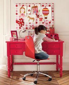 pink girls room. hot pink desk. bulletin / memo board. herringbone floors.