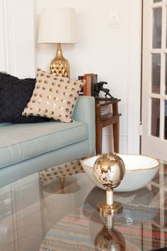 couch with gold (pillow from west elm)