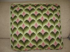 Green/Pink bargello pillow by janetyfair, via Flickr