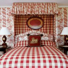 Red toile, buffalo check, canopy, needlepoint pillow - Southern Accents
