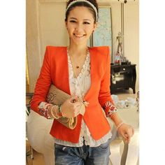 Laconic OL Style Slimming Shoulder Pad Embellished Cuff Flower Printed Long Sleeves Women's Blazers