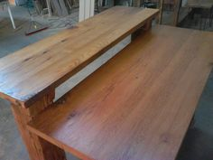 kitchen island made of barn wood oak reclaimed from a 1880 barn