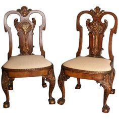 Fine pair of 19th c. Irish Chippendale mahogany and parcel gilt chairs | From a unique collection of antique and modern chairs at http://www.1stdibs.com/seating/chairs/