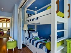 A happy kids' sleeping area at the top of the staircase features both nautical decor and a bright, happy beach-inspired color palette. http://www.hgtv.com/dream-home/hgtv-dream-home-2013-bunk-niche-pictures/pictures/index.html?soc=dhpp