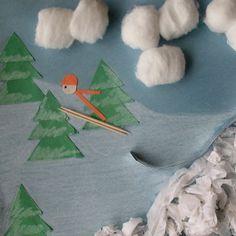 Score a perfect 10 with this Olympics craft idea: a 3D ski jump! (via Spoonful.com) art crafts, printable templates, ski jump, winter olympics, olymp craft, winter activities, motor skills, craft ideas, art projects