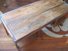 Metal stamping on coffee table