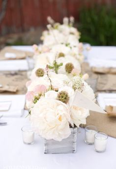 #simple #white #blush #peony #garden #rose #succulent #babys #breath #astilbe #wedding #flowers #tablescape