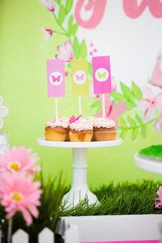 Butterfly Garden themed birthday party Full of Really Cute Ideas via Kara's Party Ideas Kara Allen KarasPartyIdeas.com #ButterflyParty #GirlyParty #PinkMiniCakes #PartyIdeas #Supplies (15)