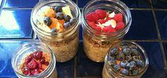 oatmeal breakfast, homemade granola, cinnamon, raw oatmeal, chia breakfast, healthy breakfasts, gluten free, mason jars, berries