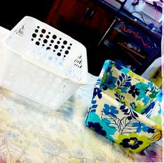 DIY Dollar Store Fabric Covered Bins
