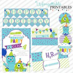 Monster's Inc Party Printable Package by SealsItWithAKiss on Etsy, $25.00