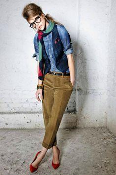 Dark corduroy's with jean shirt