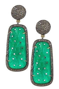 Pave Diamond Carved Green Onyx Drop Earrings - 1.80 ctw on HauteLook
