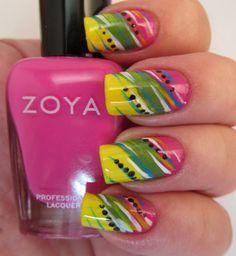 Color Blocking -  Zoya Whitney, Creamy Midori and Raven. #nail_art #nails #nail #nail_polish #manicure