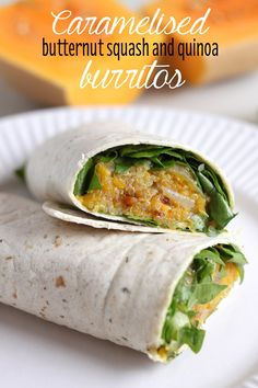 Caramelised butternut squash and quinoa burritos - the squash gets so beautifully crispy and full of flavour! Great vegan lunch.