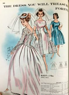 Wedding gown pattern from a 1961 Butterick catalog. #butterick #vintagesewing #vintagebride