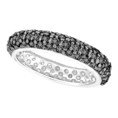 Black Diamond Eternity Ring Wide Band 14k White Gold (1.50ct)