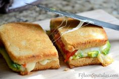 grilled cheese recipes, peppers, foods, avocado, grilled cheese sandwiches, lunch, grilled cheeses, grill chees, heirloom tomatoes