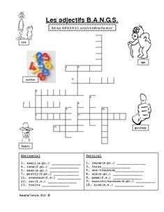Free crossword on adjectives that precede the noun in French.  Love crosswords that require the student to do more than just look at a vocab list to translate!