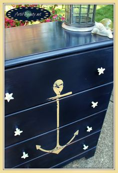 Dresser makeover with anchor. For many more ideas, go to CC: http://www.completely-coastal.com/2014/06/coastal-nautical-furniture-makeover-wicker-chair-table-dresser.html
