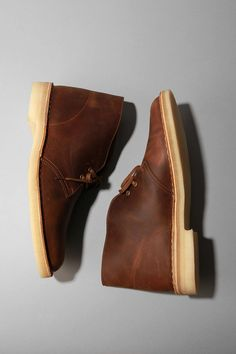 Waxed leather Clarks.