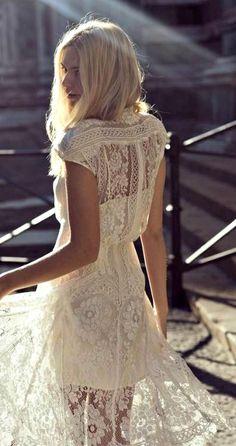 white lace dress.