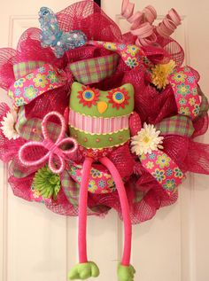 Spring Owl Wreath by ThePurplePansyCo on Etsy, $80.00