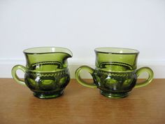 Green Kings Crown thumbprint creamer and sugar bowl in perfect condition