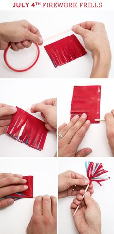 July 4th Firecracker Frills Tutorial Easy Patriotic Party Decor. Colored tissue paper cut into fringe and rolled.