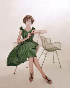 Green and Black Stripped Sun Dress 1958