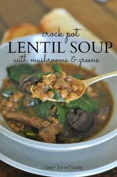 Need a lazy day meal? Try this slow cooker lentil soup |Recipe by Honey We're Healthy