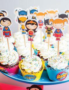 Super cute Super Hero cupcake toppers