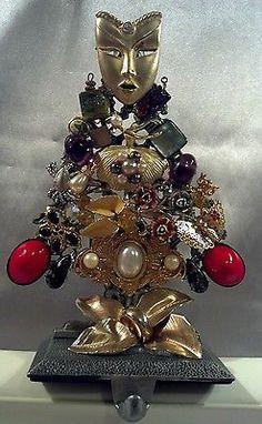 Vintage Jewelry Tree Art Stocking Holder flower ballerina (see my Framed tree)