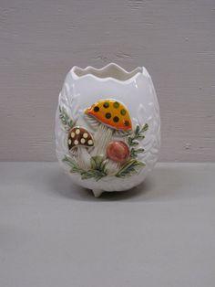 Vintage Ceramic Merry Mushroom Flower Pot / Vase