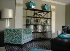 Caldwell Flake - living rooms - laura beers paintings, turquoise accents, living room with turquoise accents, turquoise chair, turquoise blue chair,