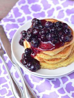 Lemon Cornmeal Pancakes with Blueberry Sauce