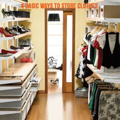 4 ways to store clothing #organizing #homeorganizing #closets