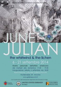 "June Julian. ""The Whirlwind & the Lichen"" Solo show at Associazione Culturale Galleria Puccini, September 6-21, 2014."