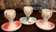Vintage Figural Hand Painted Porcelain Egg Cups with Spoon Rest - Diddle de diddy do, two ladies, diddle de diddy do, two ladies...and I'm the only man, ja...